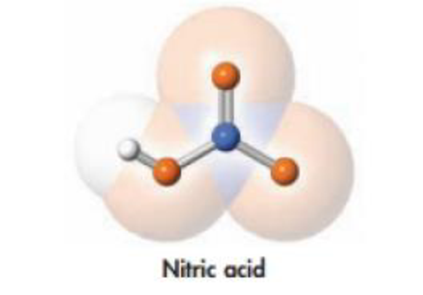 Chapter 2, Problem 33PS, A model of nitric acid is illustrated here. Write the molecular formula for nitric acid, and draw