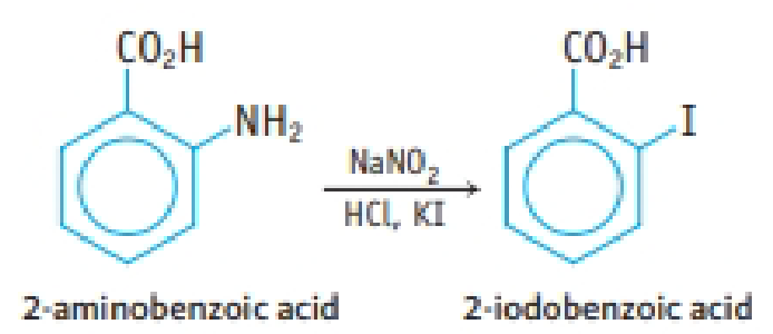 Chapter 23, Problem 112IL, 2-Icdobenzoic acid, a tan, crystalline solid, can be prepared from 2-aminobenzoic acid. Other