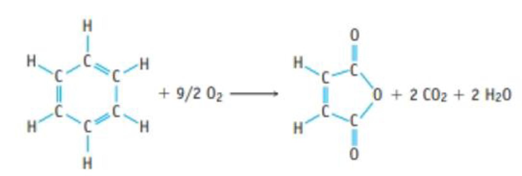 Chapter 4, Problem 141SCQ, ATOM ECONOMY: Benzene, C6H6, is a common compound, and it can be oxidized to give maleic anhydride,
