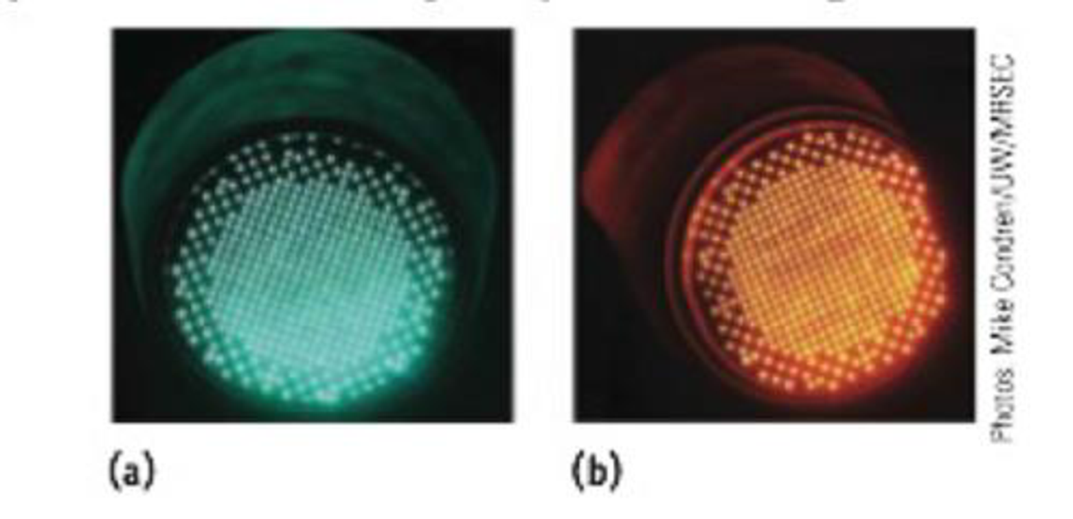 Chapter 6, Problem 3PS, Traffic signals are often now made of LEDs (light-emitting diodes). Amber and green ones are