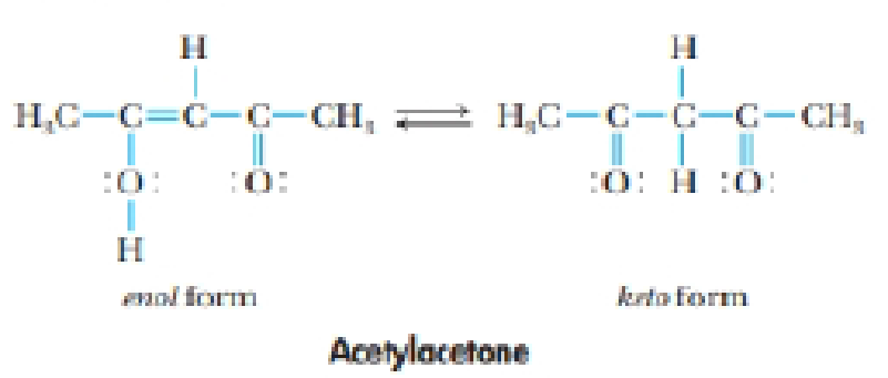 Chapter 9, Problem 54IL, The compound whose structure is shown here is acetyl acetone. It exists in two forms: the enol form , example  1