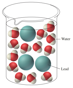 Chapter 12, Problem 58E, The following drawing shows a molecular view of a water sample contaminated with lead. Suppose the