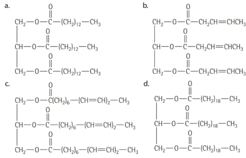 Chapter 16, Problem 16.2YT, Saturated and Unsaturated Fats Which of the following triglycerides will be a liquid at room