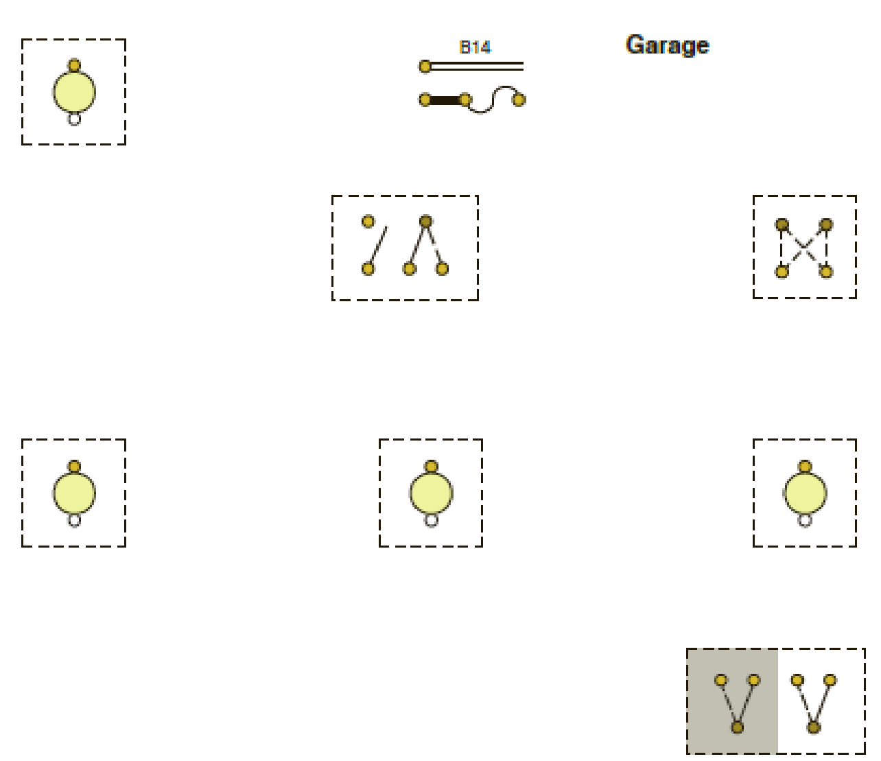 wiring diagram for lighting using the suggested cable layout of the garage lighting circuit  garage lighting circuit