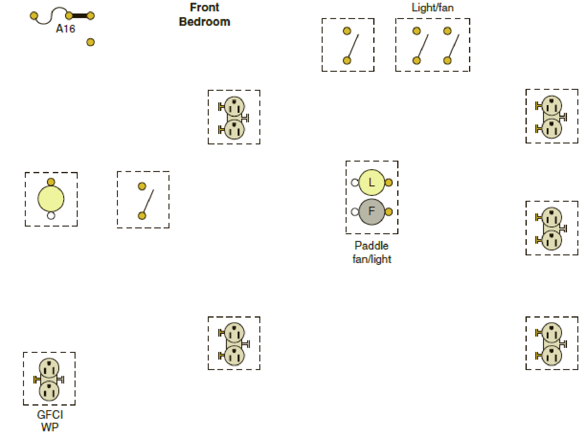 afci circuit bedroom wiring diagram the following is a layout of the lighting circuit for the front  layout of the lighting circuit