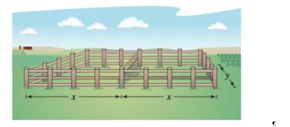 Chapter 4, Problem 83RE, Maximum Area A rancher has 400 feet of fencing with which to enclose two adjacent rectangular