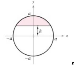 Chapter 8.4, Problem 52E, Area Find the area of the shaded region of the circle of radius a when the chord -is h units (0)