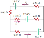 Chapter 27, Problem 22P, For the circuit shown in Figure P27.22, we wish to find the currents I1, I2, and I3. Use Kirchhoffs
