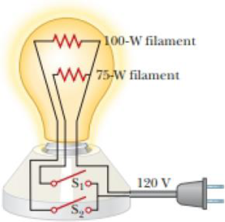 Chapter 27, Problem 3P, Figure P27.3 shows the interior of a three-way incandescent lightbulb, which provides three levels