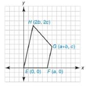 Chapter 10.2, Problem 41E, Quadrilateral EFGH has the vertices E0,0, Fa,0, Ga+b,c, and H2b,2c. Verify that EFGH is a trapezoid