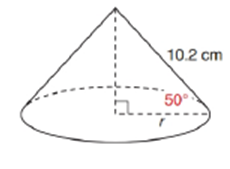 Chapter 11.2, Problem 38E, In the right circular cone, a Find r correct to tenths. b Use L=rl to find the lateral area of the