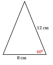 Chapter 11.CT, Problem 15CT, Use one of the three forms for area such as the form A=12bcsin to find the area of the triangle
