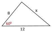 Chapter 11.CT, Problem 19CT, Use the Law of Sines or the Law of Cosines to find length x to the nearest whole number.