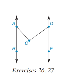 Chapter 2.1, Problem 24E, Given: ABDEmBAC=42mEDC=54 Find: mACD HINT: There is a line through C parallel to both AB and DE.