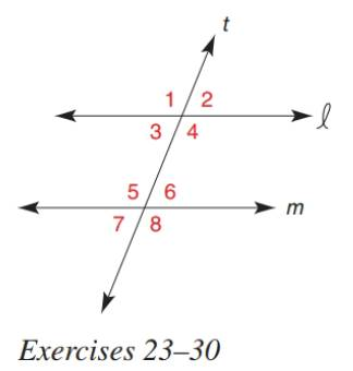 Chapter 2.3, Problem 23E, In Exercise 23 to 30, determine the value of x so that line l will be parallel to line m. m4=5x