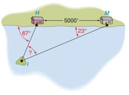 Chapter 2.4, Problem 35E, Along a straight shoreline, two houses are located at points H and M. The houses are 5000 feet