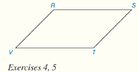 Chapter 4.CT, Problem 5CT, In RSTV, VT=3x1,TS=2x+1,andRS=4(x2). Find the value of x.