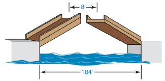 Chapter 5.4, Problem 19E, A drawbridge that is 104 ft in length is raised at its midpoint so that the uppermost points are 8