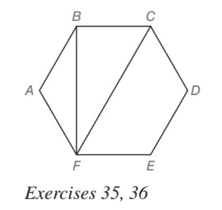 Chapter 5.5, Problem 35E, In regular hexagon ABCDEF, AB=6 inches. Find the exact length of a diagonal BF b diagonal CF