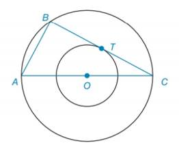 Chapter 6.2, Problem 48E, Given concentric circles with center O, ABC is inscribed in the larger circle, as shown. If BC is