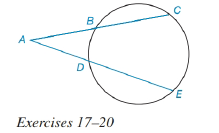 Chapter 6.3, Problem 18E, For Exercises 17 to 2, See Theorem 6.3.6. Given: AC=12,AB=6,AE=14 Find: AD.