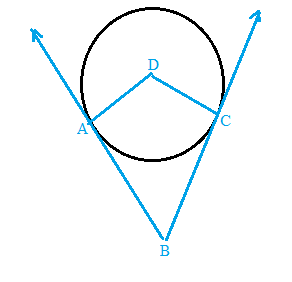 Chapter 6.3, Problem 50E, The sides of ABC are tangent to D at A and C, respectively. Explain why quadrilateral ABCD must be a