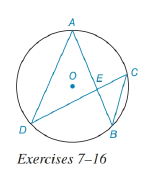 Chapter 6.3, Problem 7E, In the figure for Exercises 7 to 16, O is the center of the circle. See Theorem 6.3.5. Given: