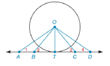 Chapter 6.4, Problem 19E, Given circle O with radius OT, tangent AD, and the line segments OA, OB, OC, and OD: a Which line