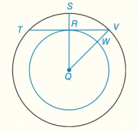 Chapter 6.CT, Problem 8CT, aBecause point Q is their common center, these circles are known as _ circles. bIf RQ=3 and QV=5,