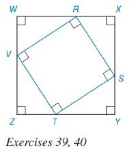 Chapter 8.2, Problem 40E, Square RSTV is inscribed in square WXYZ, as shown. If ZT=8 and TY=15, Find athe perimeter of RSTV