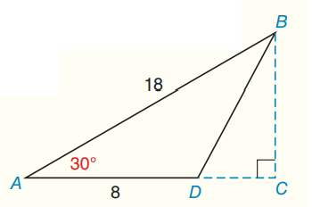 Chapter 8.CR, Problem 15CR, Find the area of ABD as shown.