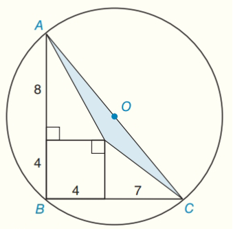 Chapter 8.CR, Problem 17CR, If AC is a diameter of O, find the area of the shaded triangle. Exercise 17 , example  2