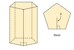 Chapter 9.1, Problem 14E, In the accompanying regular pentagonal prism, suppose that each base edge measures 6 in. and that