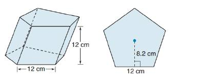 Chapter 9.1, Problem 46E, For Exercise 45 to 47, consider the oblique regular pentagonal prism shown. Each side of the base