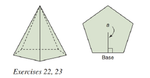 Chapter 9.2, Problem 22E, In a regular pentagonal pyramid, each lateral edge measures 8in., and each base edge measures 6in.