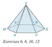 Chapter 9.2, Problem 6E, In the pyramid shown in Exercise 6 on page 416, the base is a regular hexagon. a Name the vertex