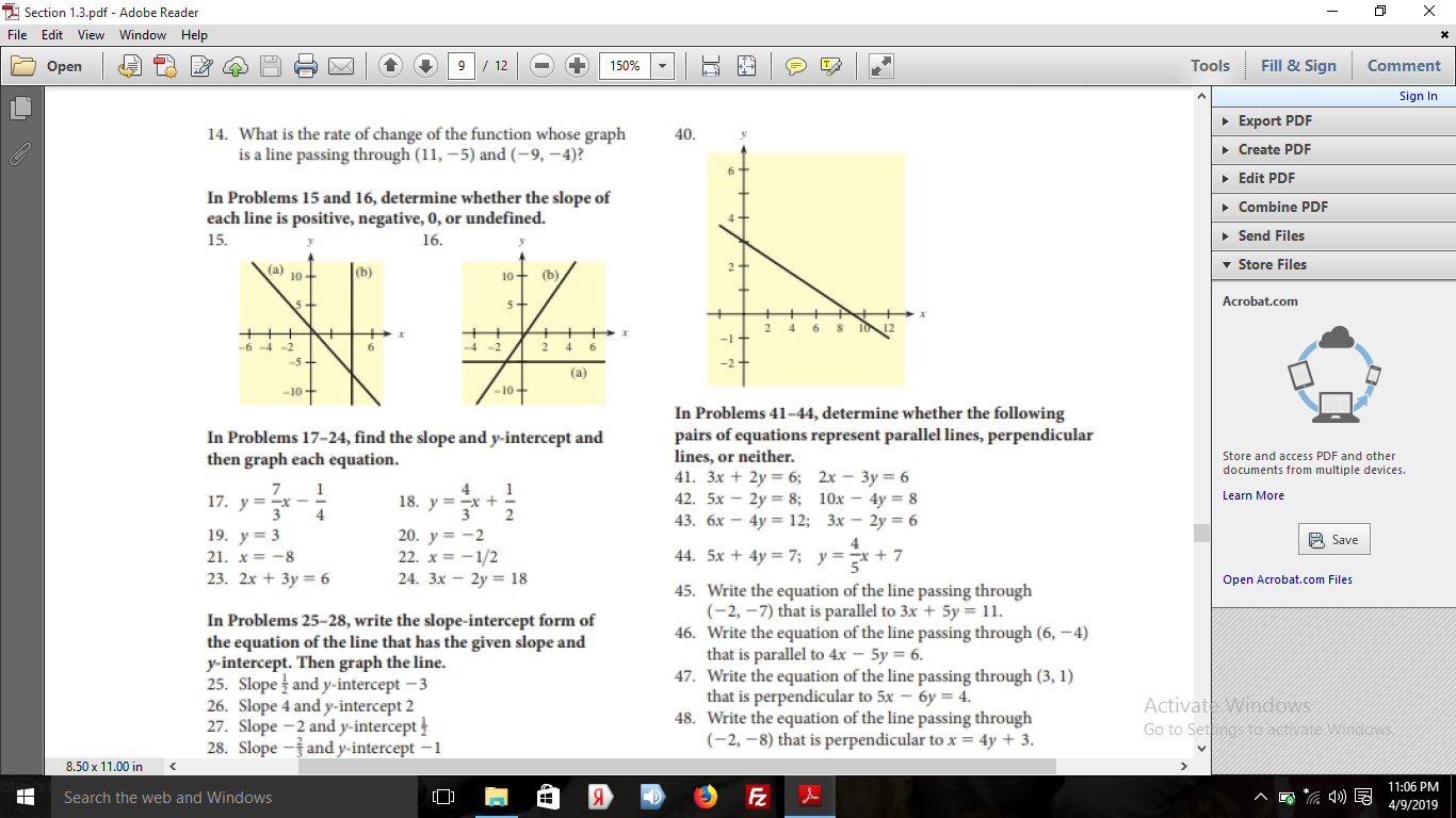 Chapter 1.3, Problem 15E, In Problems 15 and16, determine whether the slope of each line is positive, negative, 0, or