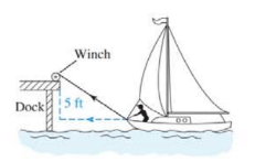 Chapter 11.4, Problem 32E, 32. Boat docking Suppose that a boat is being pulled toward a dock by a winch that is 5 ft above the