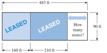 Chapter 1.3, Problem 36E, A single-story shopping center is being designed to be 483 ft long by 90 ft deep. Two stores have