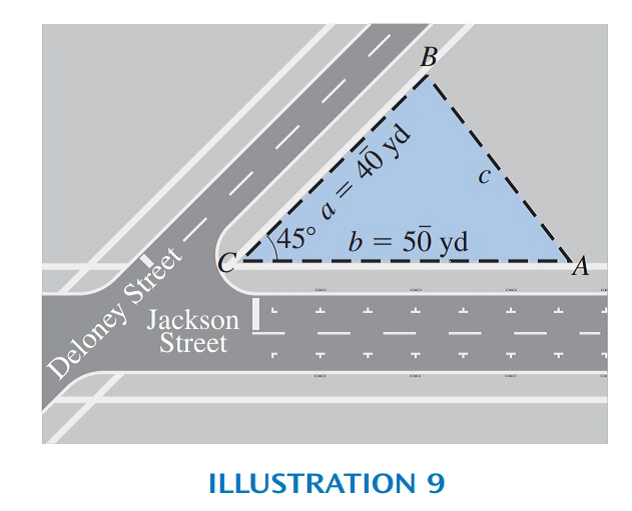 Chapter 14.5, Problem 27E, See Illustration 9. Deloney and Jackson Streets meet at a 45 angle. A lot extends 50 yards along