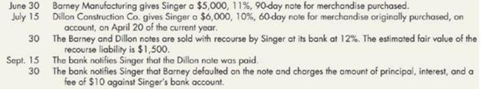 Chapter 6, Problem 19E, Recording the Sale of Notes Receivable Singer Corporation was involved in the following events in