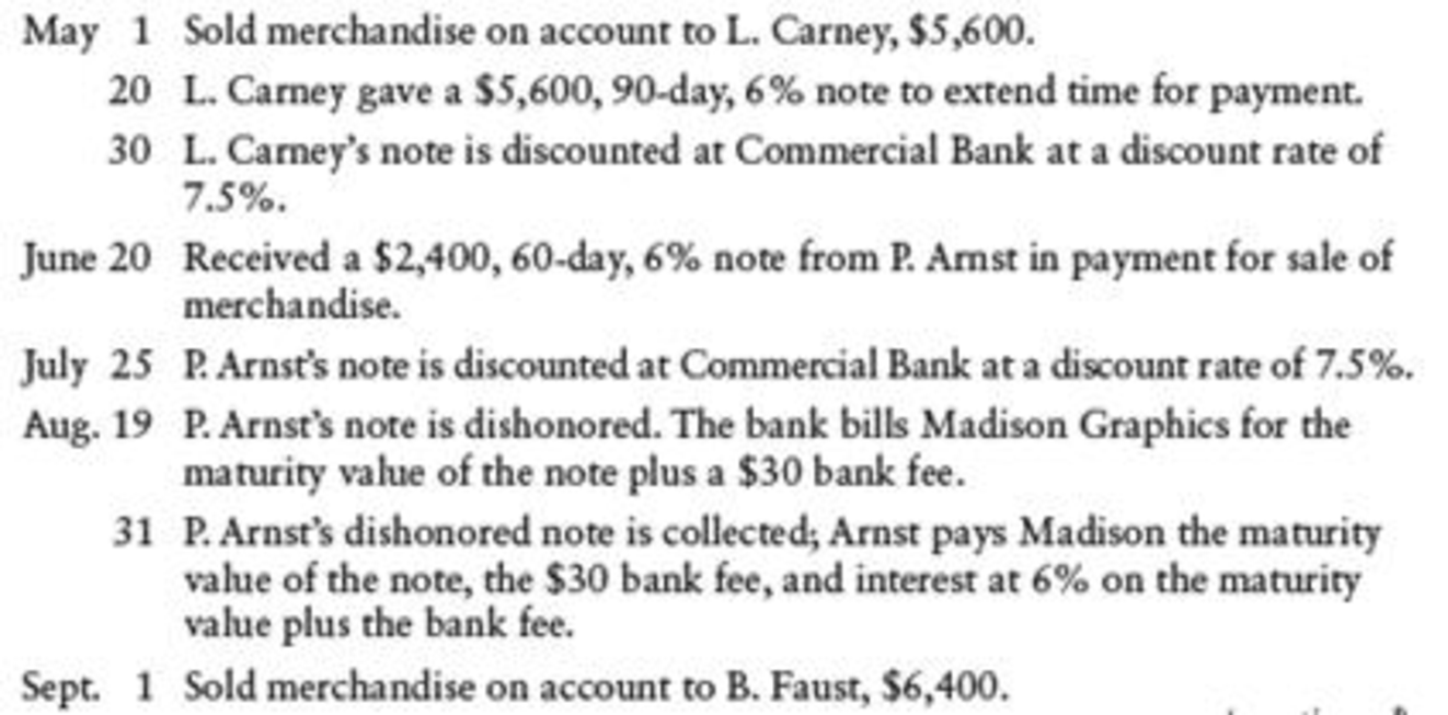Chapter 17, Problem 11SPB, NOTES RECEIVABLE DISCOUNTING Madison Graphics had the following notes receivable transactions: , example  1
