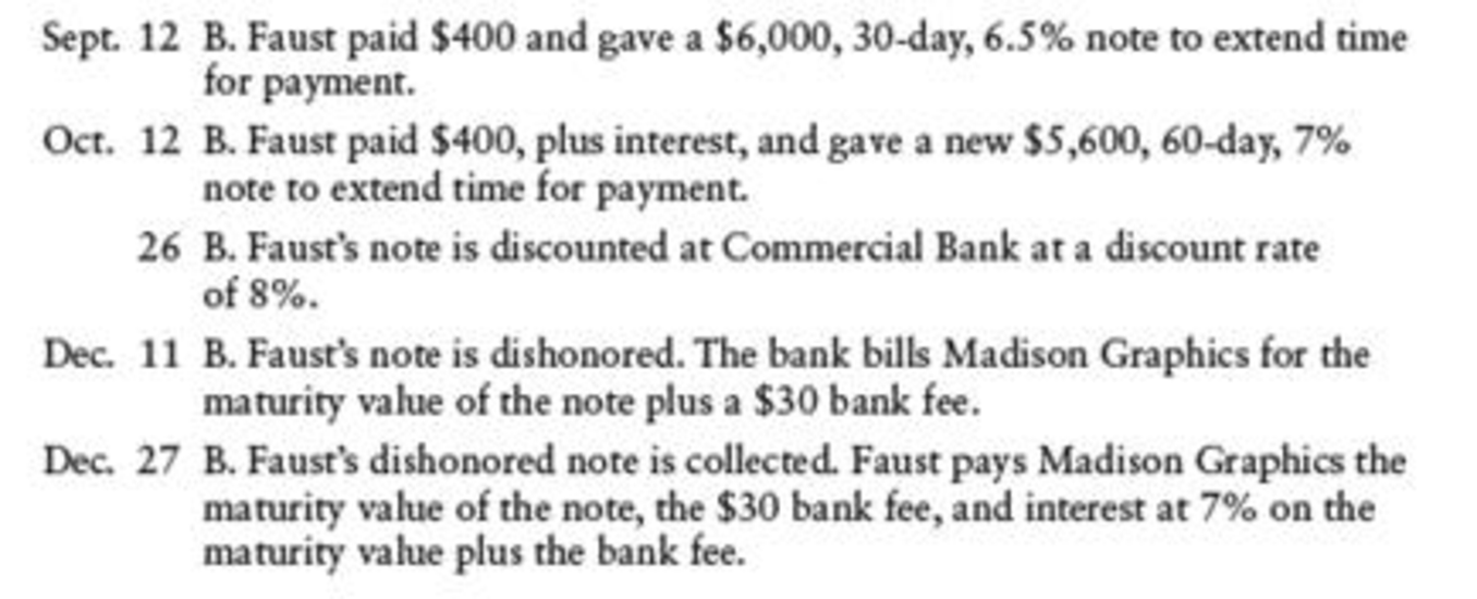 Chapter 17, Problem 11SPB, NOTES RECEIVABLE DISCOUNTING Madison Graphics had the following notes receivable transactions: , example  2