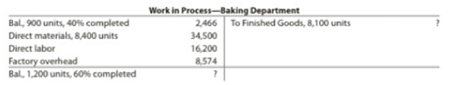 Chapter 17, Problem 24E, Equivalent units of production and related costs The charges to Work in ProcessBaking Department for