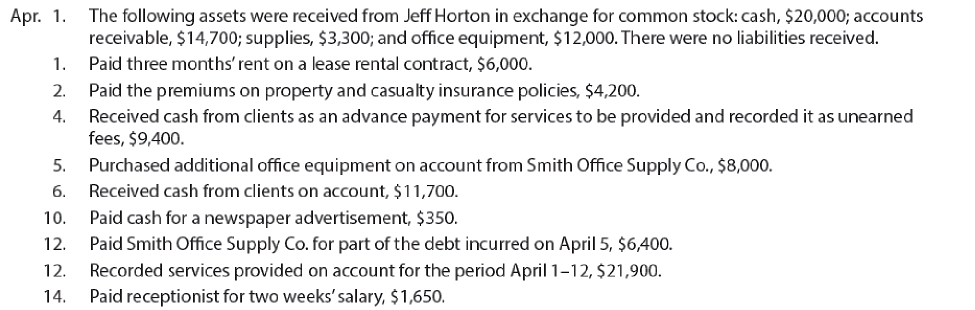 Chapter 4, Problem 5PB, Complete accounting cycle For the past several years, Jeff Horton has operated a part-time , example  1