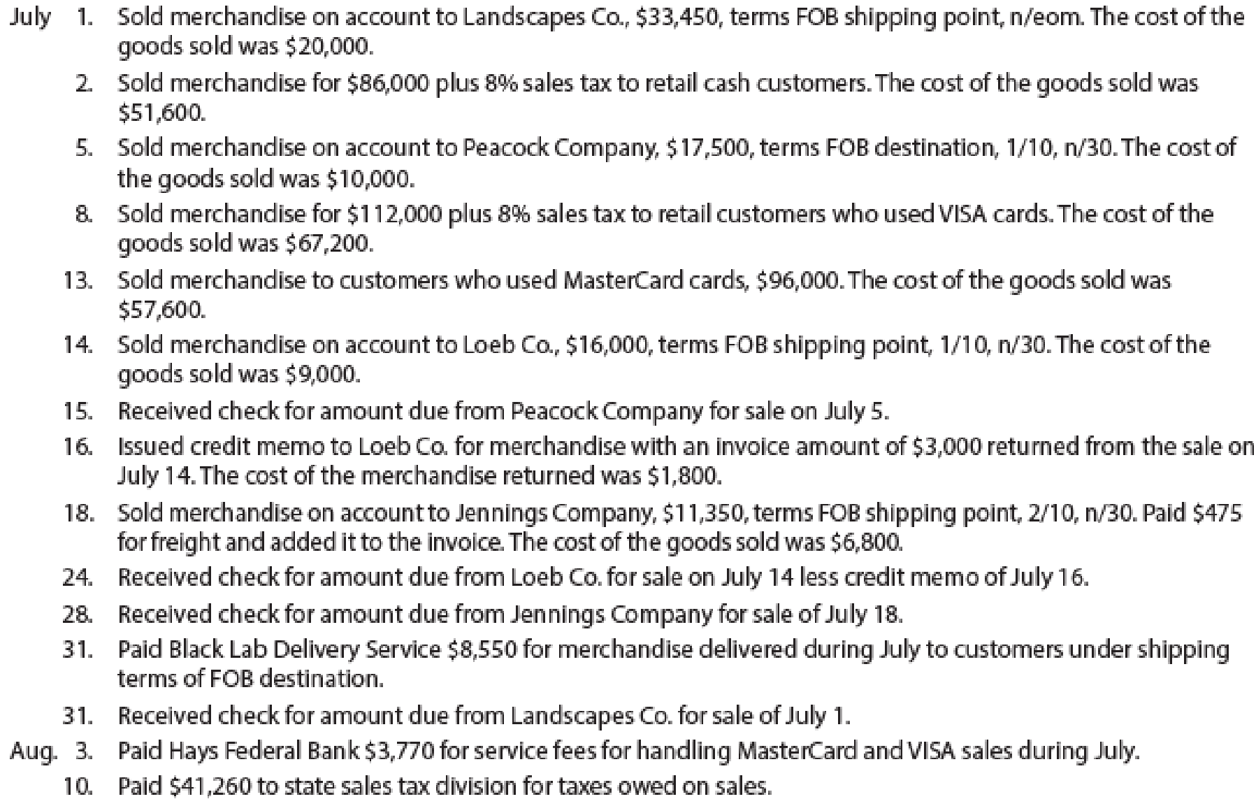 Chapter 5, Problem 2PA, Sales-related transactions using perpetual inventory system The following selected transactions were