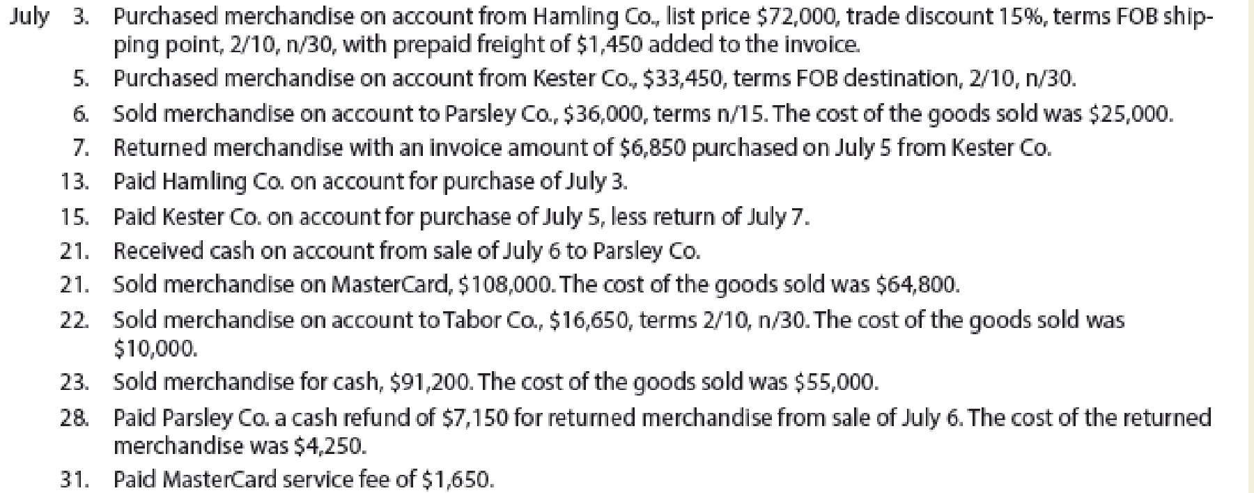 Chapter 5, Problem 3PB, Sales and purchase-related transactions using perpetual inventory system The following were selected