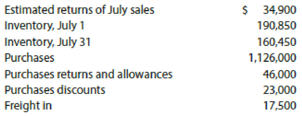 Chapter 5, Problem 43E, Cost of goods sold Based on the following data, determine the cost of goods sold for July: