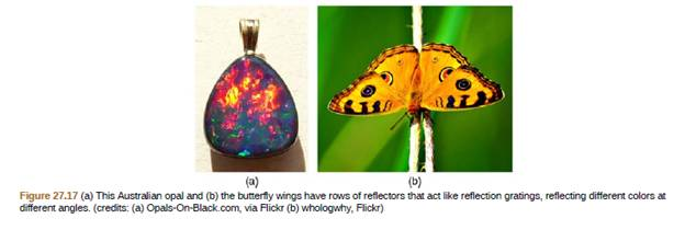 Chapter 27, Problem 32PE, An opal such as that shown in Figure 27.17 acts like a reflection grating with rows separated by